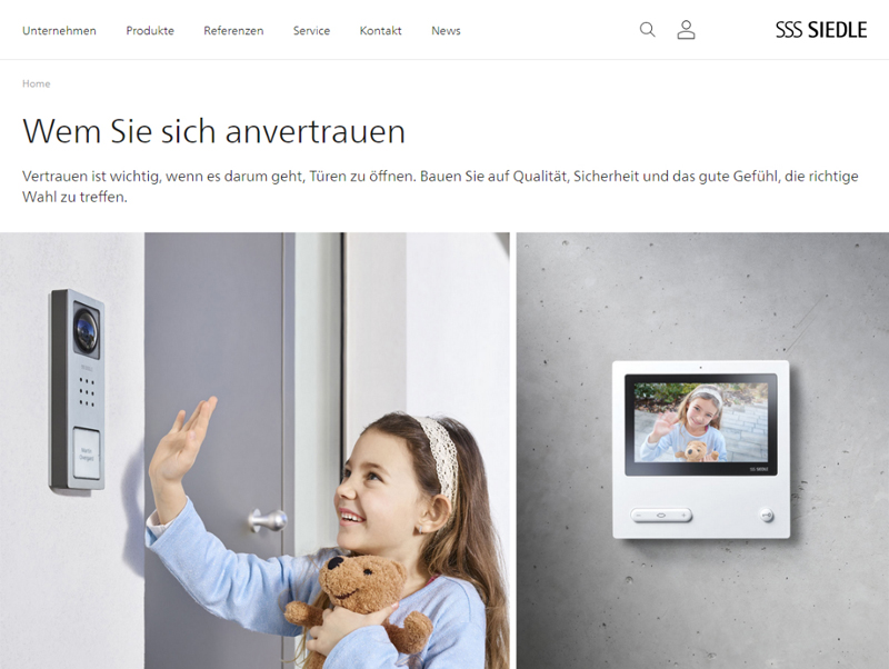 Siedle neue Website Screenshot Siedle Compact Video