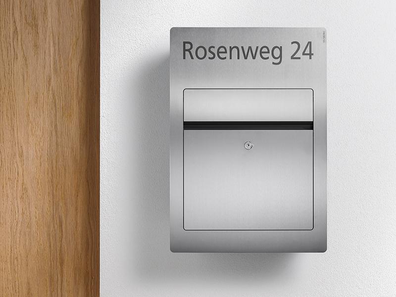 Siedle Briefkasten Aufputz mit Laserbeschriftung