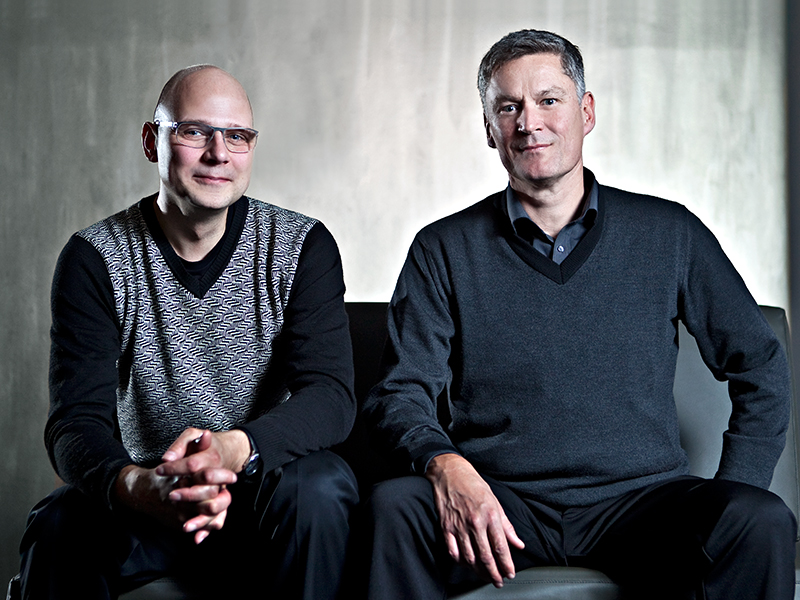 Till Boettger, Professur Entwerfen und Raumgestaltung, und Peter Strobel, Leiter der Unternehmenskommunikation bei Siedle